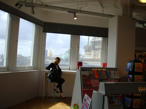 My favourite spot in Galeries Lafayette Paris - the view of the rooftops from the books store window.