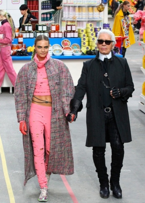 Supermarket shopping at Chanel with Karl and Cara for Autumn/ Winter 2014.(photo - Chanel)