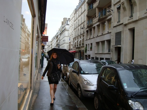 With your favourite dress - preferably on a rainy day in Paris!