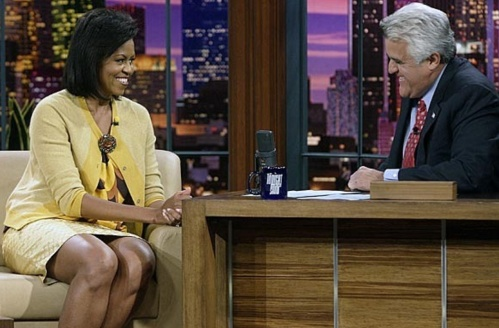 Michelle Obama wearing J Crew on The tonight Show with Jo Leno.