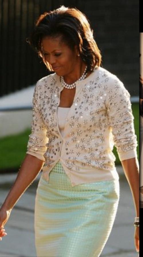 Michelle Obama in mint green J Crew in London in 2009.