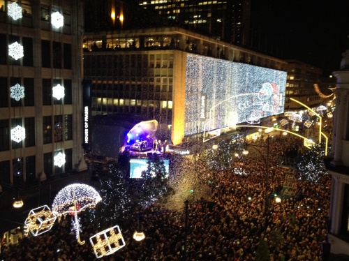 Christmas lights switch on at House of  Fraser 2012. (photo worklondonstyle)
