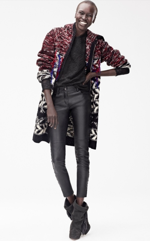 Alek Wek wearing leather trousers by Isabel Marant for H&M (photo- H&M)