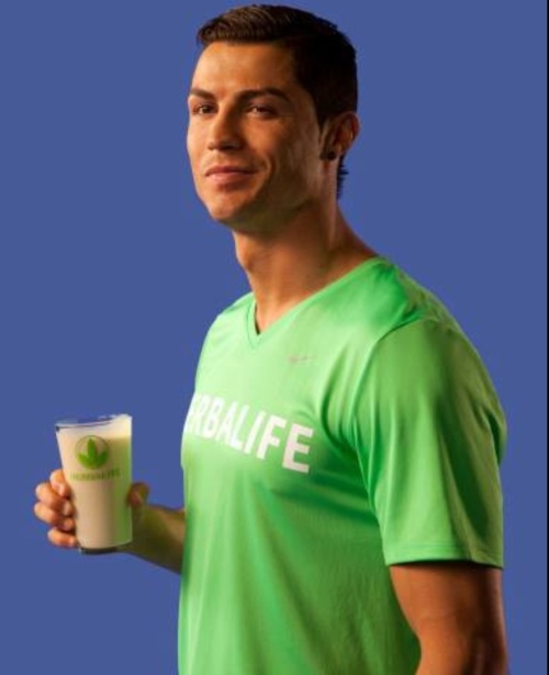 Christiano Renaldo drinking Herbalife for a healthy, active lifestyle.