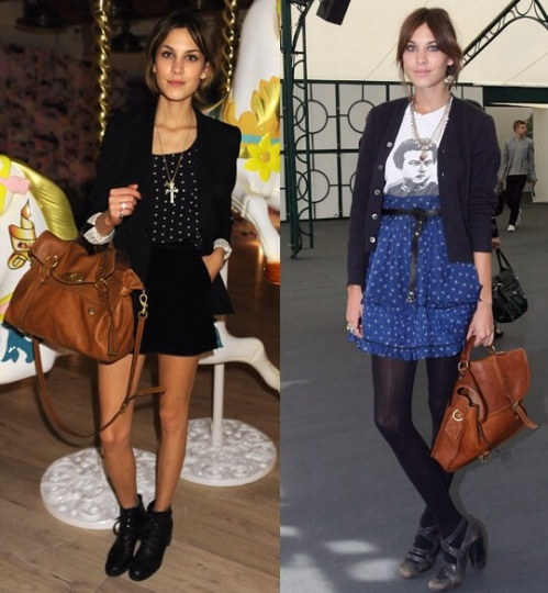 Alexa Chung with the Alexa bag and the original Elkington which inspired it. (photo -Mulberry)