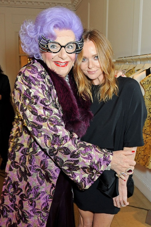 Dame Edna Everage with Stella at her Chrismas lights switch-on party at the Brompton Cross store. (photo - Bauer media)