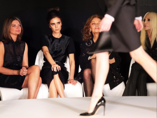 Fashion week with Natalie Massenet, Diane Von Furstenburg and Donatella Versace. (photo - Rex Features)