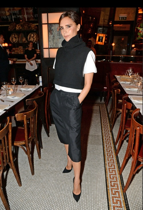 One of her most copied by the high street looks for this Winter; the cropped polo neck and trouser. (photo - Rex Features)