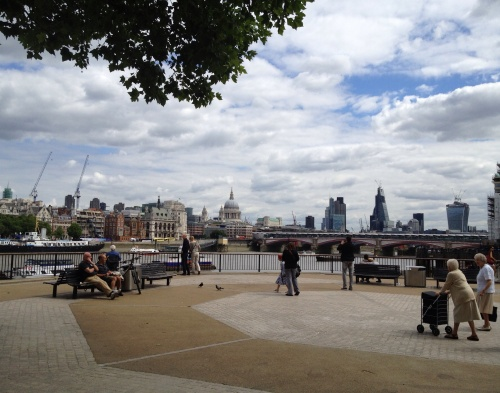 Visitors of all ages enjoy the view from the Southbank. (photo - worklondonstyle)
