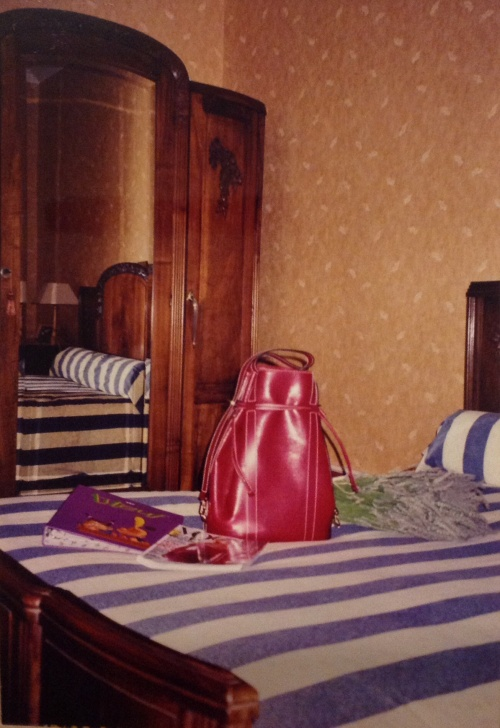 My big Lancel Elsa bag photographed during a 2003 stay at Ma Cachette chambres d'hotes in Arlanc in the Auvergne.