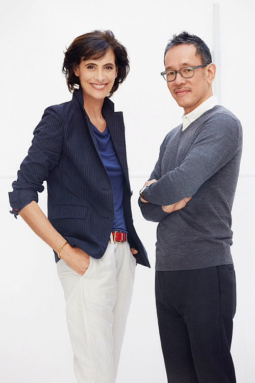Ines working with Uniqlo Design Director Naoki  Takizawa (photo - Uniqlo)
