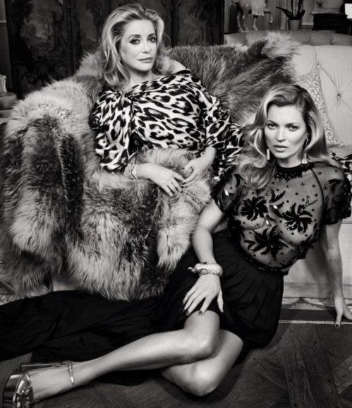 Catherine Deneuve and Kate Moss photographed at the Shangri-La Hotel in Paris for Vanityfair. (photo - Patrick Demarchelier)