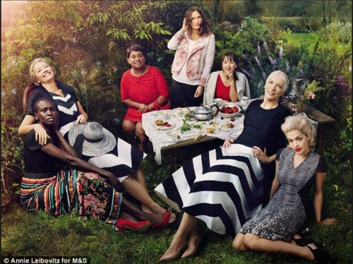 M&S's current 'Leading Ladies' advertising campaign shot by Annie Leibovitz showcases it's food and clothing products. (photo - Annie Leibovitz for M&S)