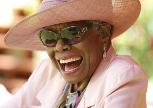 Dr Angelou during celebrations for her 83rd birthday.
