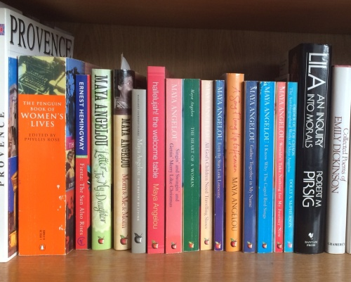 Maya's books on my bookshelf at the time of her passing. (photo-worklondonstyle)