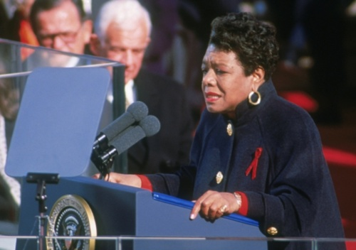 Dr Angelou reciting her poem 'And Still I Rise' at the inauguration of president Bill Clinton in 1993.