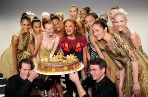 Diane Von Furstenberg and models celebrate the 40th anniversary of the DVF wrap dress. (photo - Getty)